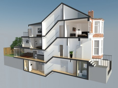 Cross Section of conversion to flats, basement and extensions